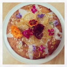 Gluten free naked lemon polenta cake with edible flowers. www.monkeypoodle.co.uk