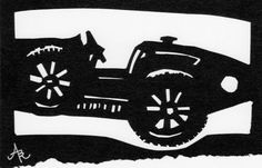 Bugatti Type 35 Handcrafted Paper cut Black and by BARARTstudio, $12.00
