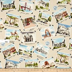 National Parks Postcard Fabric By The Yard. Great fun and unique Mother's Day gift idea for camping moms!