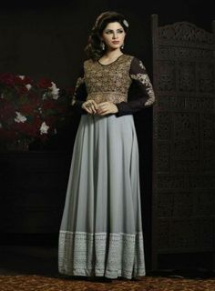 Gratifying #Grey and #Black Embroidered #Anarkali Features self thread and zari embroidery on top having georgette fabric with santoon inner and bottom including chiffon dupatta.