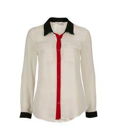 Classic City Stripe Blouse, Rouge/Black/Ivory