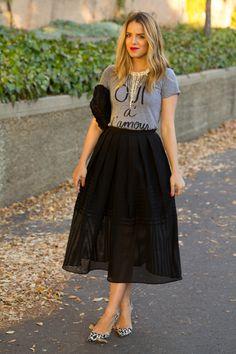 huge hoop skirt and simple tshirt