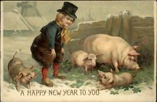 NEW YEAR FANTASY Little Boy w Lucky Pig and Piglets c1910 Postcard