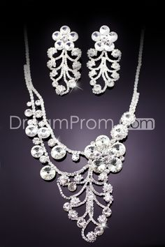 Pretty String Alloy with Flower Shaped Rhinestone Wedding Jewelry Set(Including Necklace and Earrings)
