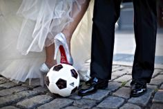 Soccer + wedding = playful image! This is so happening!