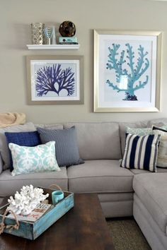 This plus a bit of orange and green palms....25 Chic Beach House Interior Design Ideas Spotted on Pinterest - HarpersBAZAAR.com
