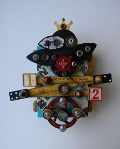 Recycled Art Assemblage  Crow 12  Original Mixed by redhardwick, $120.00