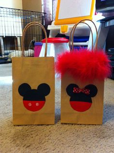 Minnie and Mickey party favor bags that I made.
