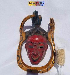 WAS $1,075 - Tribal African Art Guro Baule Yaure Mask Figure Sculpture Statue