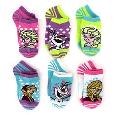 Frozen Anna Elsa Olaf Adult 6 pack Socks #Frozen #Anna #Elsa #PackOfSocks #Disney #WomensSocks #CharacterSocks #YankeeToyBox