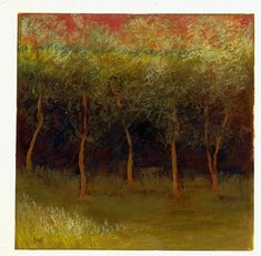 LOIS GOLD - Spring Trees II Oil Pastel on Paper 15'' x 15''