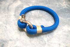 Nautical Sailing Bracelet Stainless steel Shackle-Paracord Bracelet-Rope Bracelet-BLUE 2