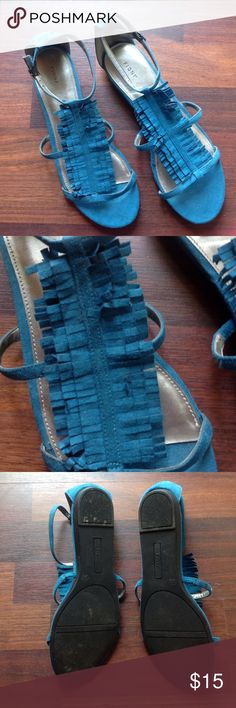 Sandals Cute fringe turquoise sandals great condition Fioni Shoes Sandals