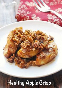 This delicious apple crisp is made with minimal amounts of butter and sugar. Sweet, gooey and crunchy, it's the perfect healthy fall dessert.