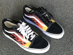 HAND PAINTED FLAMES  | jiggy threads~ check out this website for cool vans! Check out my page!