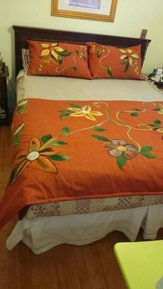 Discover recipes, home ideas, style inspiration and other ideas to try. Grey Bedding, Quilt Bedding, Bedding Sets, Basic Embroidery Stitches, Embroidery Works, Sheet Curtains, Bed Cover Design, Floral Bedspread, Felt Cushion