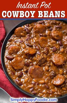 Instant Pot Cowboy Beans are flavorful & hearty enough to be a main dish. Pressure cooker Cowboy Beans are quick to make Pressure Cooker Baked Beans, Instant Pot Pressure Cooker, Pressure Cooker Recipes, Pressure Cooking, Instant Pot Beans Recipe, Instant Pot Dinner Recipes, Hobo Beans Recipe, Beef And Beans Recipe, Baked Bean Recipes