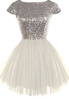 Round Neck Silver Sequin Homecoming Dresses, Cap Sleeve