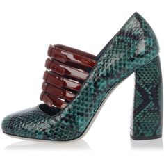 MIU MIU Ayers Leather Decolletes 10 cm ($575) ❤ liked on Polyvore featuring shoes, sandals, green, green shoes, green leather sandals, leather sole shoes, miu miu and leather sandals