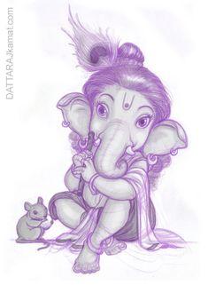 Bal Ganesha as Lord Krishna! Ganesha Drawing, Ganesha Tattoo, Lord Ganesha Paintings, Ganesha Art, Indian Gods, Indian Art, Om Gam Ganapataye Namaha, Baby Ganesha, Hindu Deities