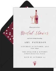 11 Virtual Bridal Shower Invitations That Aren't Tacky | Emmaline Bride Bridal Shower Favors, Bridal Shower Invitations, Invites, Rsvp Online, Invitation Paper, Wine Tasting, Savannah, Berry, Bride