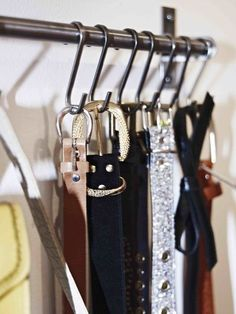 Hang a Belt Rack --- It only takes five minutes to organise one aspect of your wardobe and Ikea affordable kitchen rails also double up as a nifty belt rack. Tiny Closet, Small Closets, Master Closet, Closet Bedroom, Closet Wall, Open Closets, Belt Storage, Closet Storage, Closet Organization