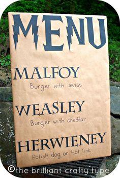 Harry Potter Birthday Party: The Crafty Menu