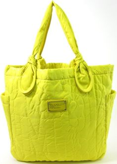 NEW MARC BY MARC JACOBS Yellow Nylon Quilted Pretty Tate Tote Handbag at www.ShopLindasStuff.com