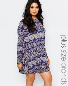 Boohoo+Plus+Printed+Long+Sleeve+Swing+Dress