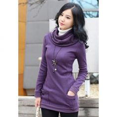 Trendy Long Sleeve Sweater With Scarf For Women