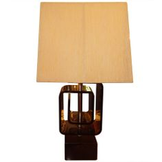 Pierre Cardin Style Smoked Lucite Table Lamp
