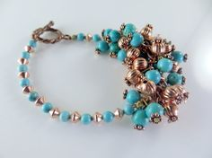 Copper and turquoise beaded bracelet by jewelryandmorebykat