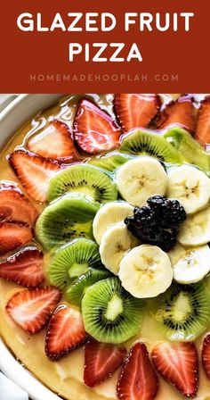 """Make fruit pizza your way with a sweet cream cheese """"sauce',… – Stacey-Ann Rowe Glazed Fruit Pizza! Make fruit pizza your way with a sweet cream cheese """"sauce',… Fruit Pizza Recipe With Glaze, Fruit Pizza Frosting, Fruit Pizza Bar, Easy Fruit Pizza, Mini Pizza, Fruit Pizzas, Dessert Pizza, Fruit Tart Glaze, Sweet Pizza"""