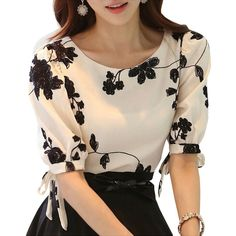 Women Top Floral Black Embroidered White Slim Chiffon Blouse