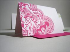 I'm loving the designs on these new cards by Escargot Studio. The Henna notecards are a contemporary take on traditional Indian henna patterns, and the bold, intricate patterns will be remembered long after the recipient first sees the card. Henna Designs On Paper, Mehndi Designs, Paper Design, Henna Patterns, Zentangle Patterns, Print Patterns, Wedding Notes, Wedding Save The Dates, Zentangle Drawings