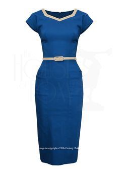 Queen Bee Wiggle Dress - blue/tan