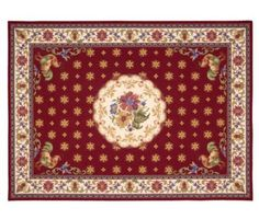 French country chickens roosters rooster waverly kitchen for Country style kitchen rugs