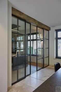 Home Office Space, Home Office Decor, Home Decor, House Extension Design, Double Doors Interior, Open Plan Kitchen Living Room, Built In Furniture, Deco Design, Home Interior Design
