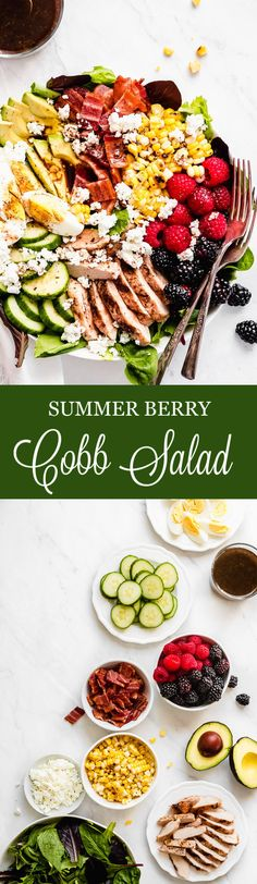 Cobb Salad This salad is loaded with all the best summer fruits and veggies, grilled chicken, hard boiled eggs, and salty bacon. Enjoy the end of summer with this healthy fresh salad! Spinach Salad Recipes, Chickpea Salad Recipes, Pasta Recipes, Broccoli Salad, Soup Recipes, Dinner Recipes, Bbq Chicken Salad, Grilled Chicken, Chicken Chickpea