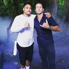 "Credit: jojo_est.92 on IG (June 2015) ""Blessed day today working on set with brother Alex Hawaii 50 yes you""."