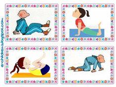 Ώρα για να ξεμουδιάσουμε! Πλαστικοποιούμε και κόβουμε τις παρακάτω 44 κάρτες. Τις ανακατεύουμε και τις ανοίγουμε σαν βεντάλια από την ανάποδη. Έρχεται ένα παιδί και διαλέγει στην τύχη μία. Την παρατηρ Gross Motor Activities, Gross Motor Skills, Activities For Kids, Relaxing Yoga, Birthday Games, Yoga For Kids, Clay Crafts, Bird Art, Physical Education