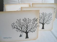 Thinking of You - Tree & Girl on Swing Silhouette Image - set of four (4) via Etsy