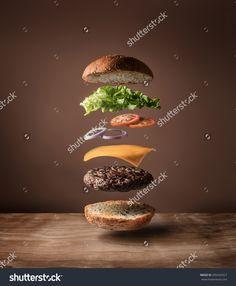 Floating Burger Стоковые фотографии 395542927 : Shutterstock
