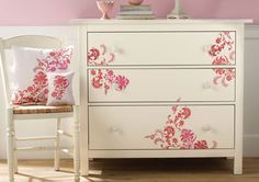 Exotic Blossoms Chest of Drawers and Pillows created with Martha Stewart Crafts. #crafts #marthastewart #pillow
