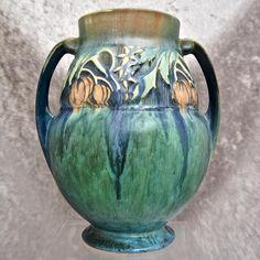 """Roseville Pottery Baneda Vase #596-9"""", Green, c. 1932"""