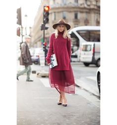 Katya - love this sheer burgundy look - stunning streetstyle