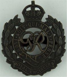 Royal Engineers GviR Officers' metal cap badge for sale Royal Engineers, Kings Crown, Commonwealth, Badges, Tanks, Empire, Engineering, British, Bronze