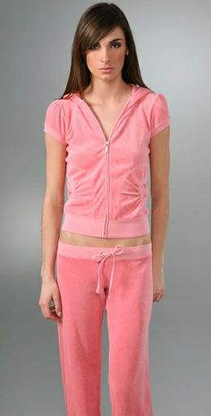 Juicy Couture Pink Original Velour Short Sleeve Tracksuits $75.62