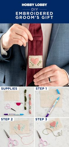 Create a gift he'll never forget with this embroidered tie tag.
