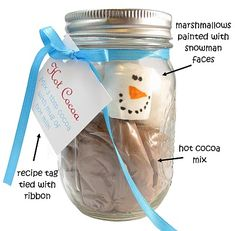 Snowman Hot Chocolate Gift Jars - adorable marshmallows! Cocoa, Snowman, Water Bottle, Gourd, Snowmen, Theobroma Cacao